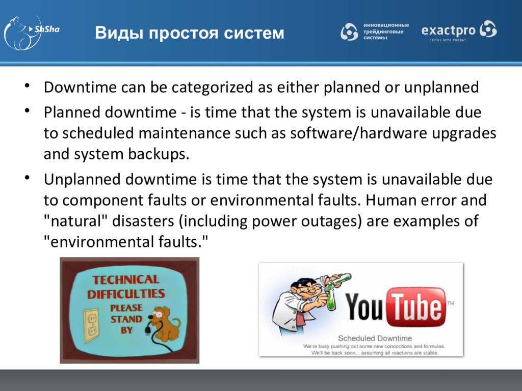 Виды простоя систем • Downtime can be categoriz...