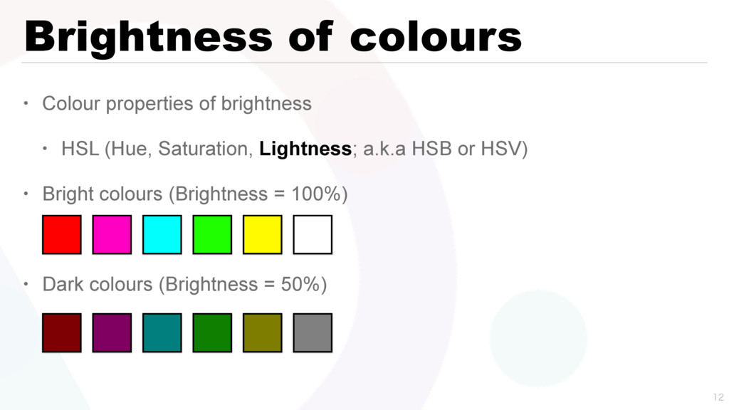 Brightness of colours • Colour properties of br...