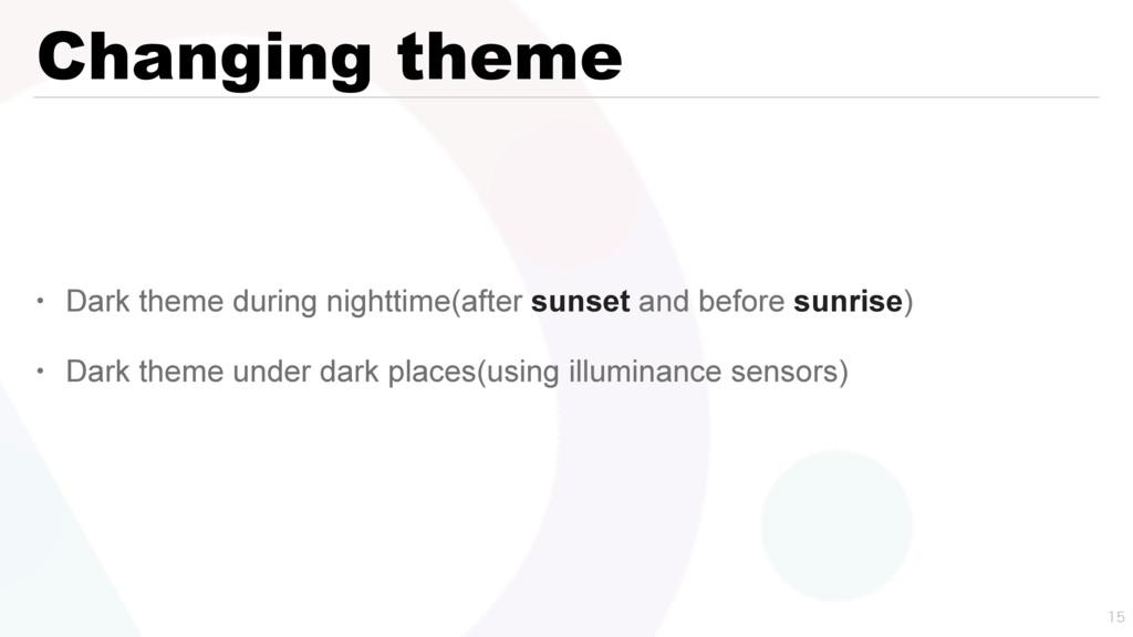 Changing theme • Dark theme during nighttime(af...