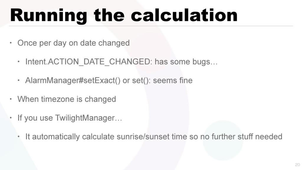Running the calculation • Once per day on date ...