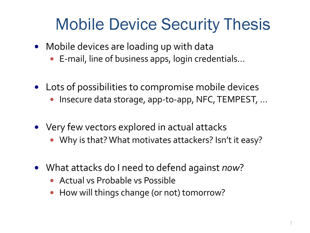 2 Mobile Device Security Thesis —  Mobile	