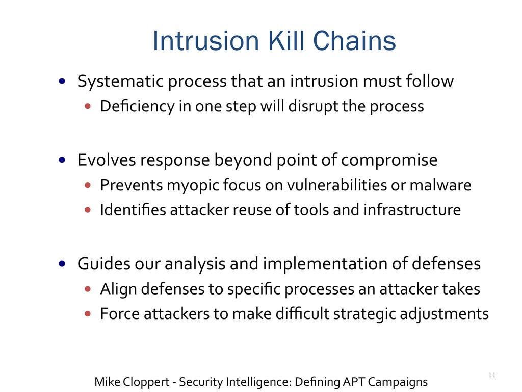 11 Intrusion Kill Chains — Systematic proc...