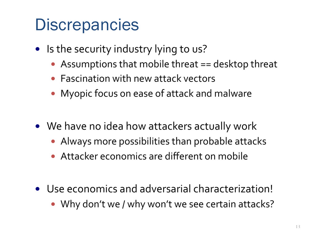 13 Discrepancies —  Is	
