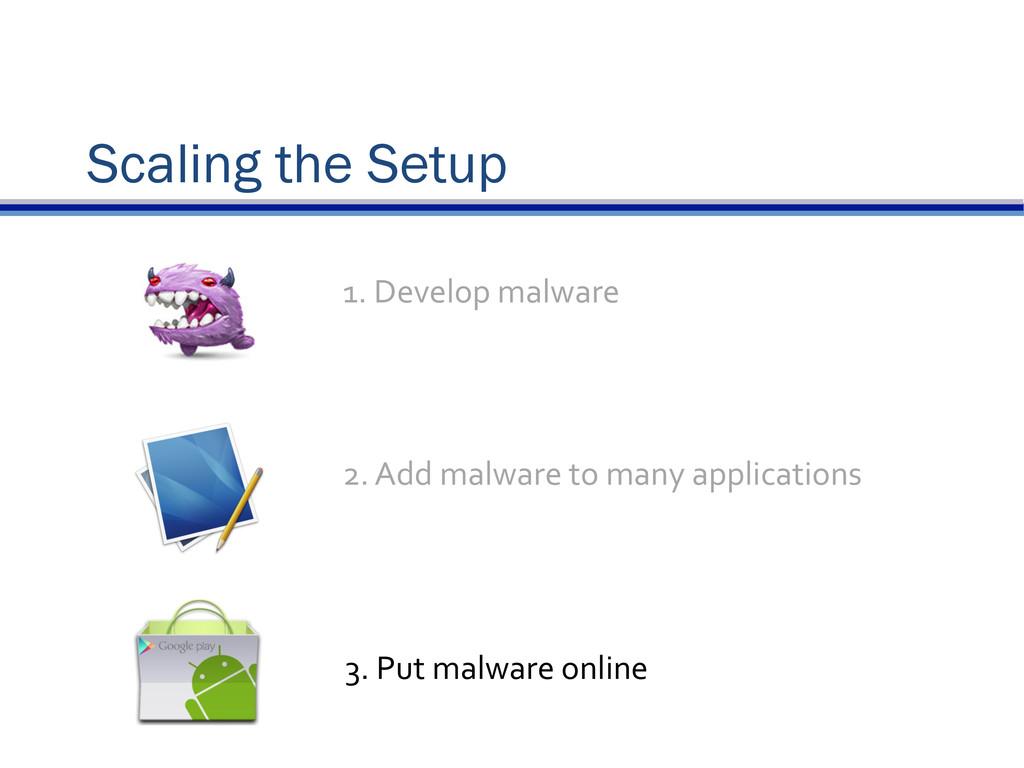 Scaling the Setup 2. Add malware to ...