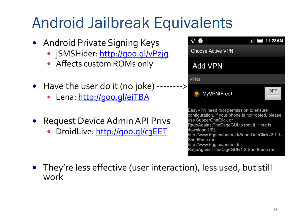 34 Android Jailbreak Equivalents —  Android	