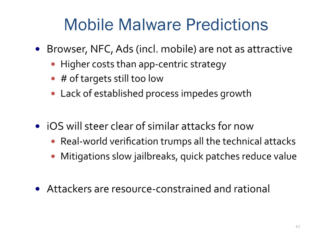 41 Mobile Malware Predictions —  Browser,	