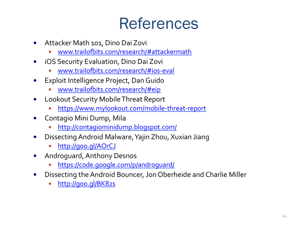 46 References —  Attacker	
