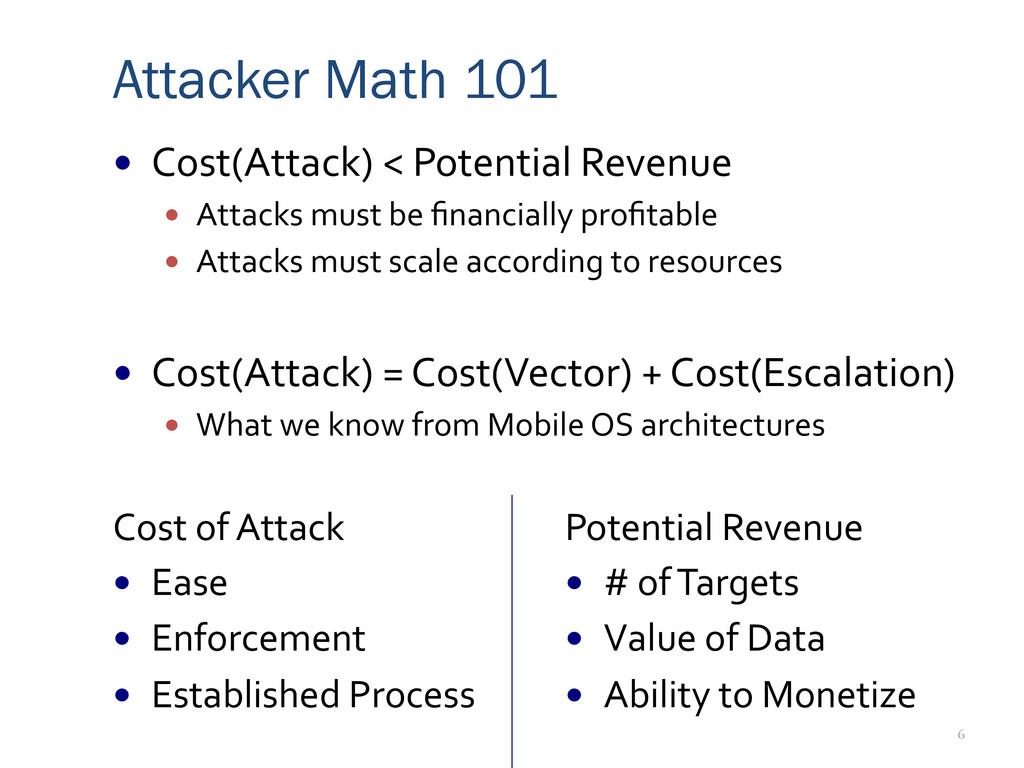 6 Attacker Math 101 — Cost(Attack) < Po...
