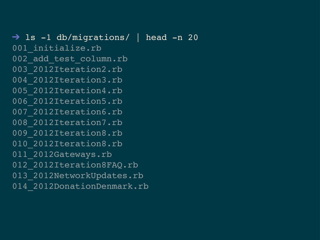 ➔ ls -1 db/migrations/   head -n 20 001_initial...