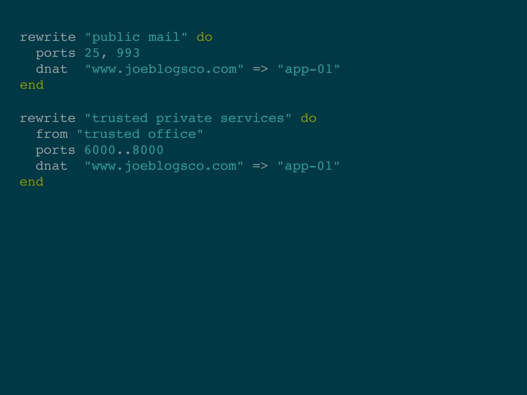 """rewrite """"public mail"""" do ports 25, 993 dnat """"ww..."""