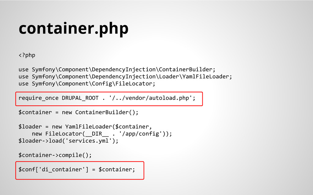 container.php <?php use Symfony\Component\Depen...
