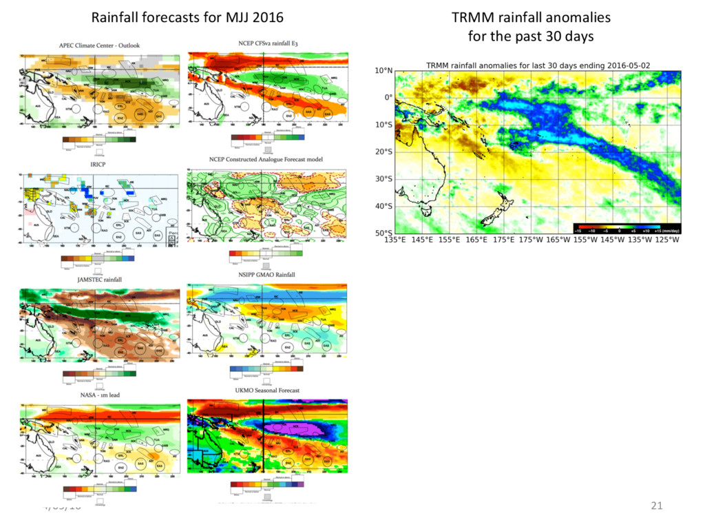 4/05/16 21 TRMM rainfall anomalies for the past...