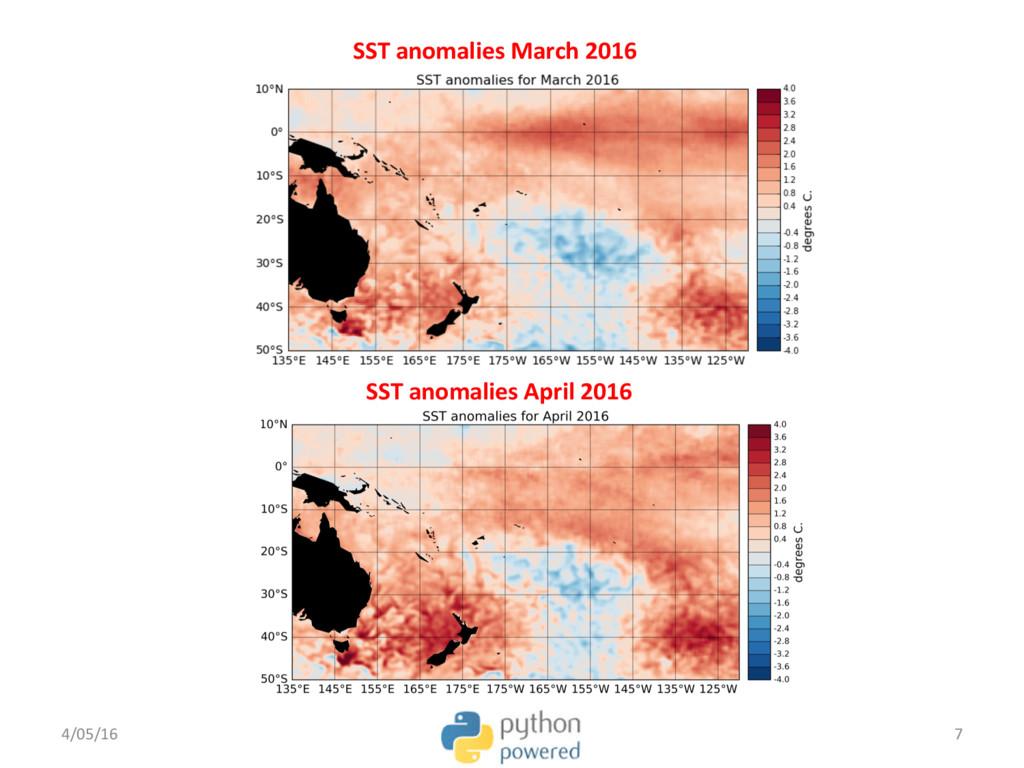 SST anomalies April 2016 4/05/16 7 SST anomalie...