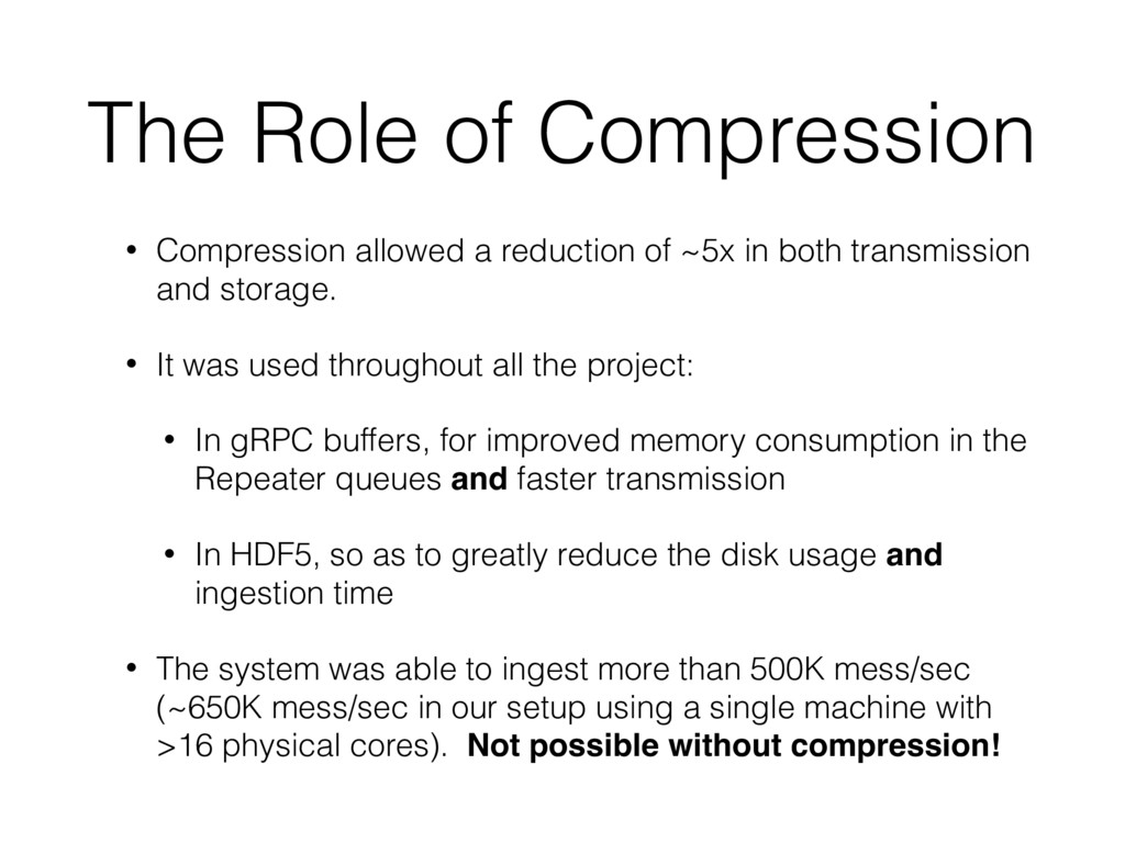 The Role of Compression • Compression allowed a...