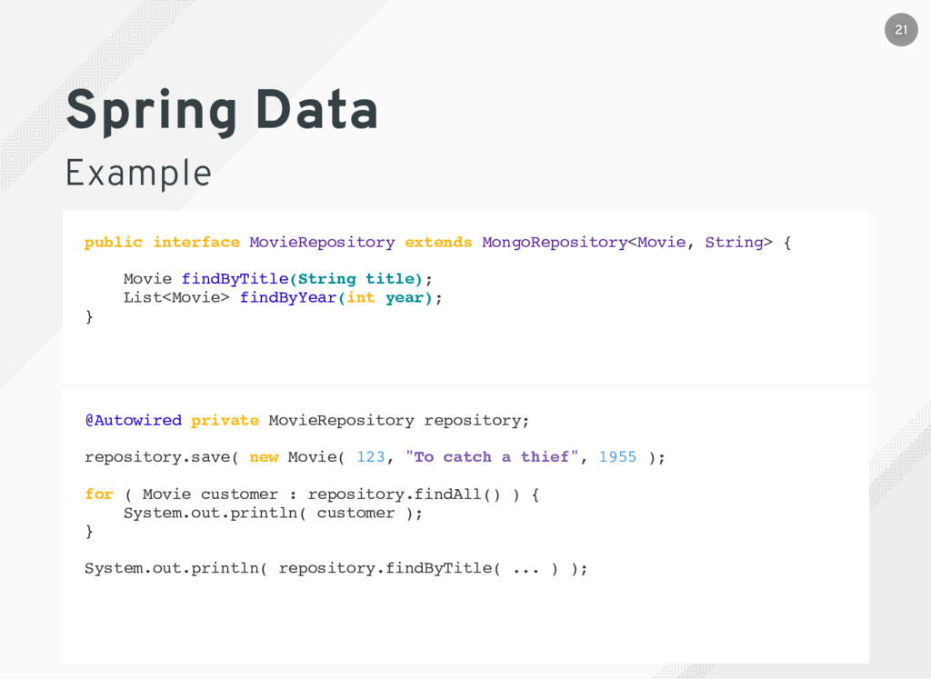 Spring Data Example public interface MovieRepos...