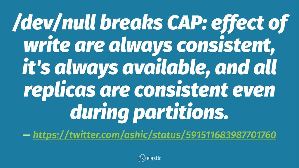 /dev/null breaks CAP: effect of write are alway...