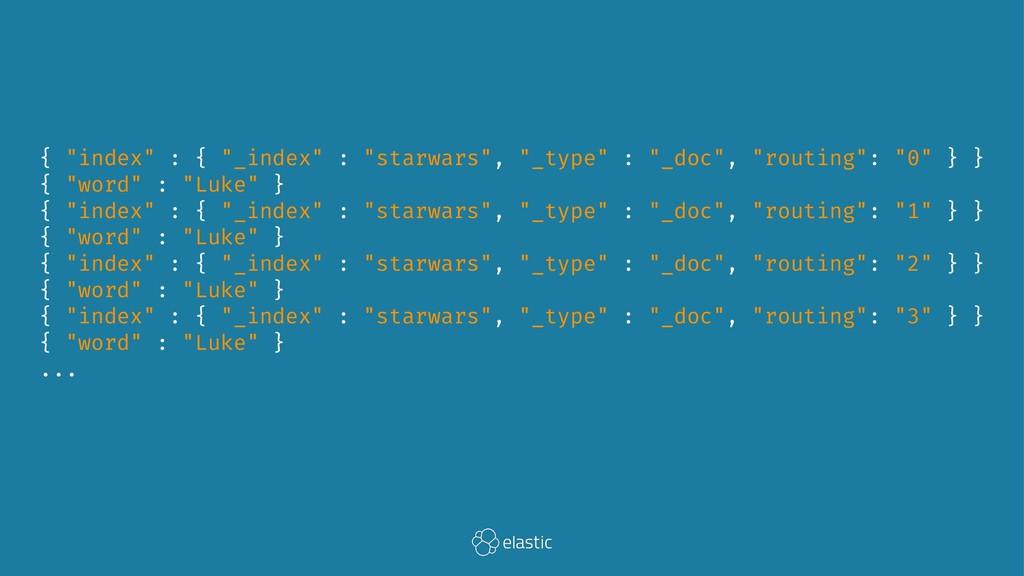 """{ """"index"""" : { """"_index"""" : """"starwars"""", """"_type"""" : ..."""