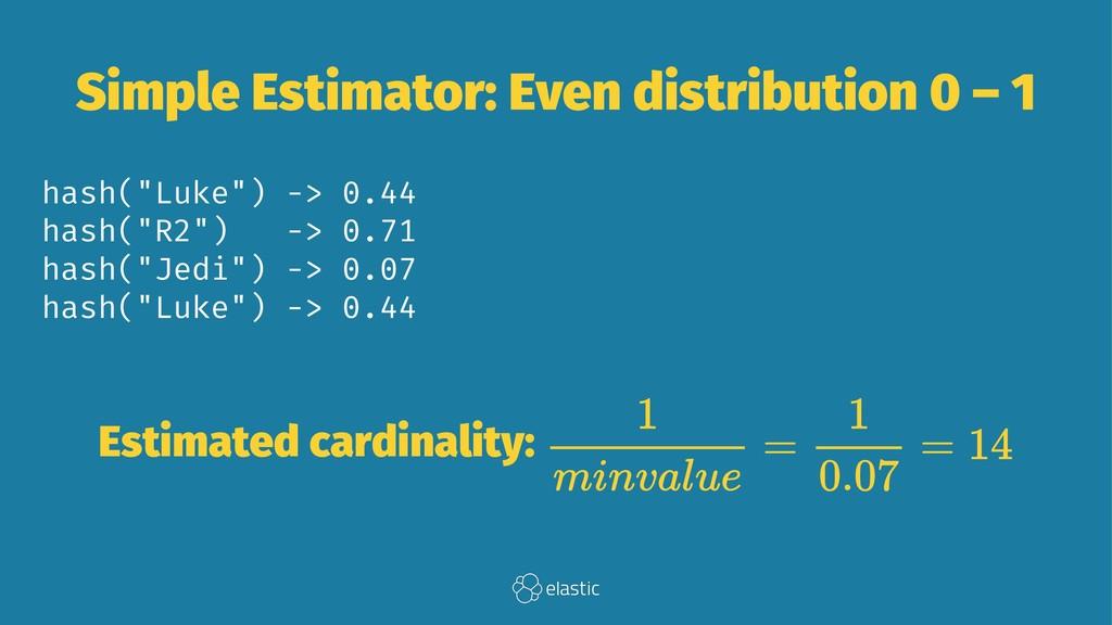 Simple Estimator: Even distribution 0 – 1 hash(...