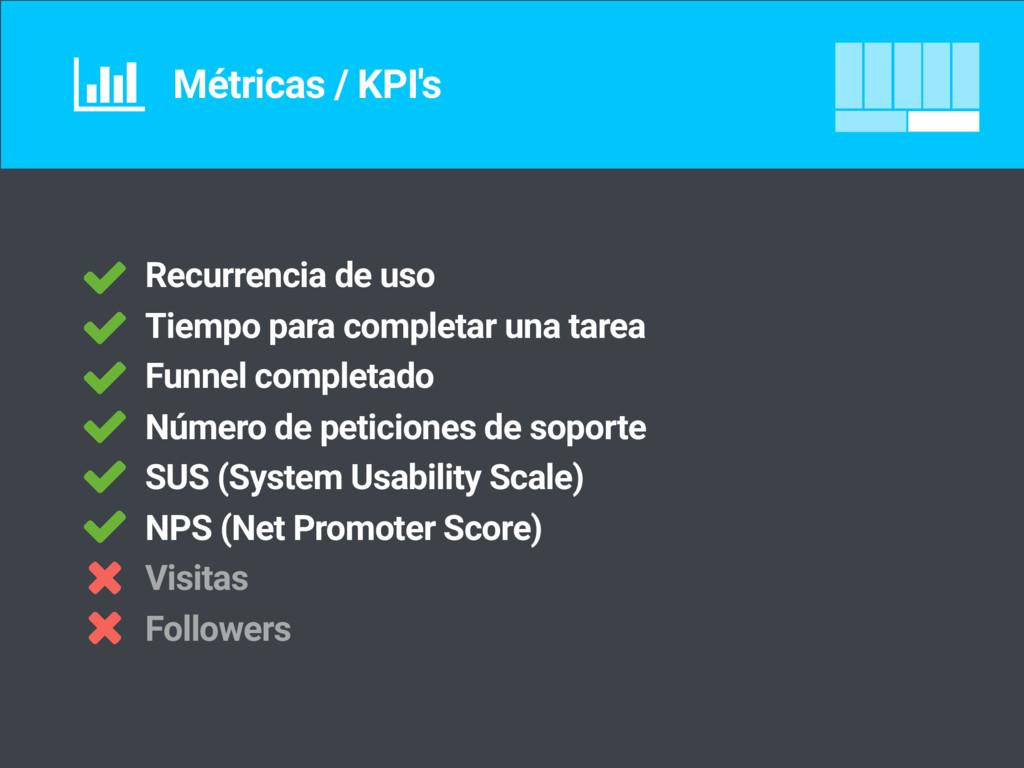 Métricas / KPI's Recurrencia de uso Tiempo para...