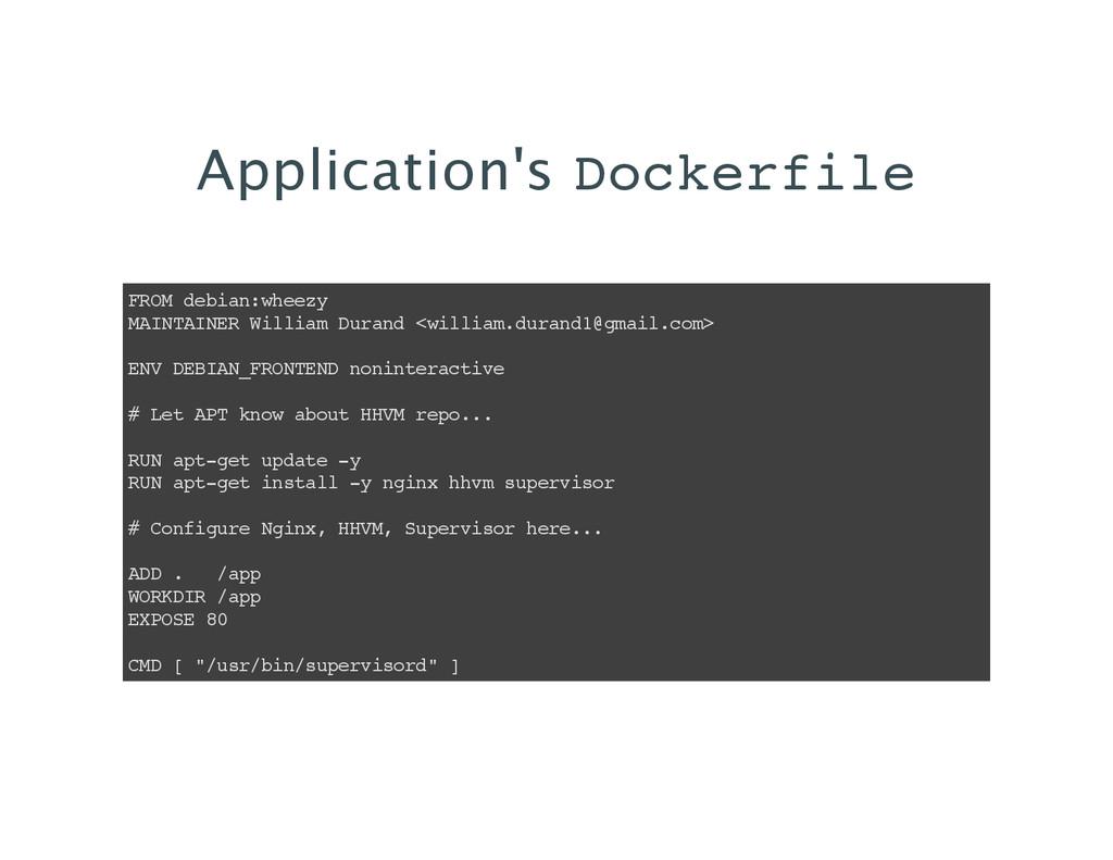 Application's Dockerfile FROM debian:wheezy MAI...