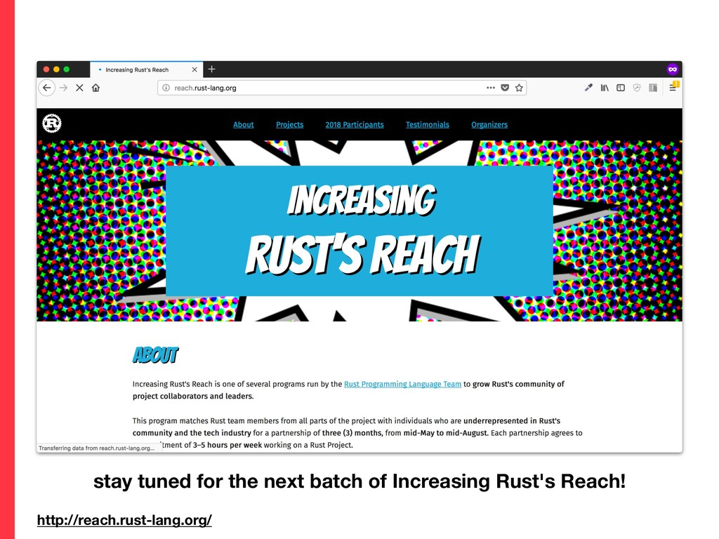 http://reach.rust-lang.org/ stay tuned for the ...