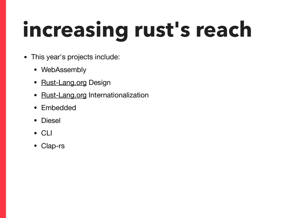 increasing rust's reach • This year's projects ...
