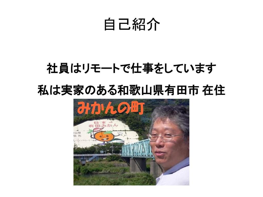自己紹介 社員はリモートで仕事をしています 私は実家のある和歌山県有田市 在住