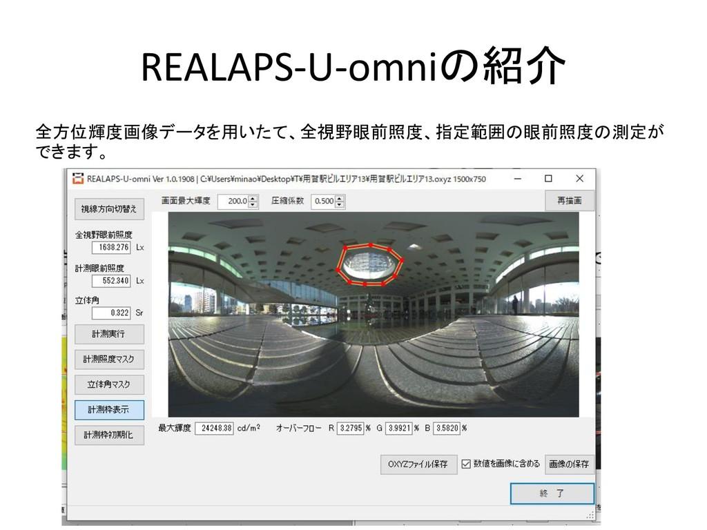 REALAPS-U-omniの紹介 全方位輝度画像データを用いたて、全視野眼前照度、指定範囲の...