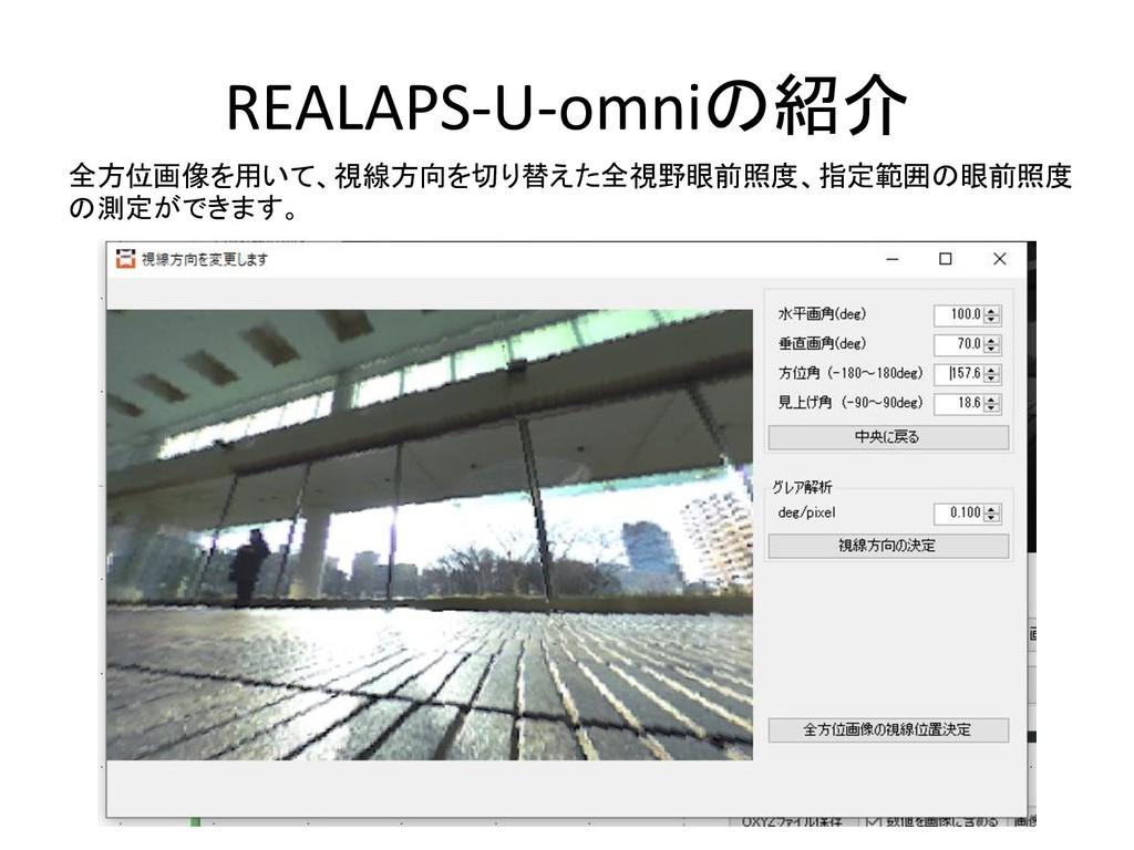 REALAPS-U-omniの紹介 全方位画像を用いて、視線方向を切り替えた全視野眼前照度、指...