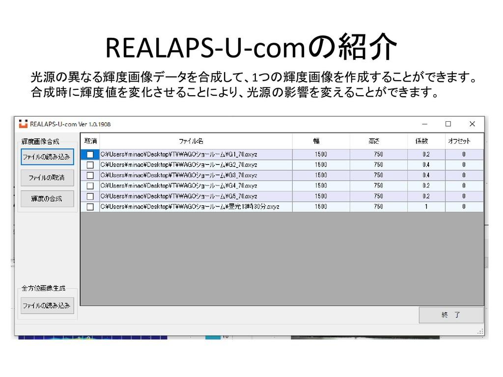 REALAPS-U-comの紹介 光源の異なる輝度画像データを合成して、1つの輝度画像を作成す...