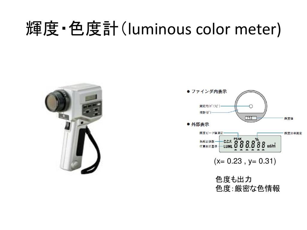 輝度・色度計(luminous color meter) 色度も出力 色度:厳密な色情報 (x...