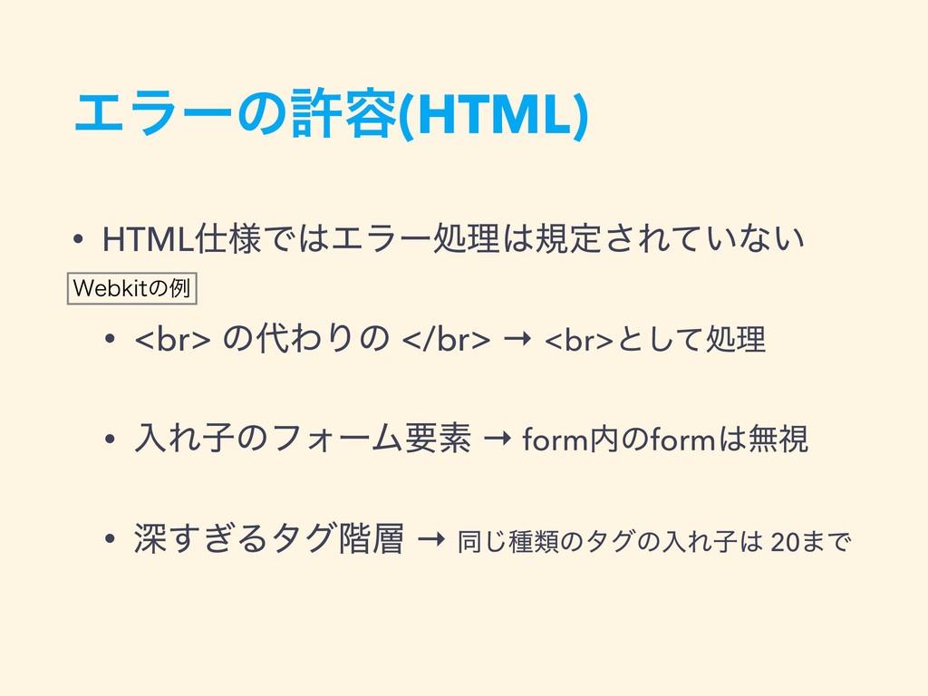Τϥʔͷڐ༰(HTML) • HTML༷ͰΤϥʔॲཧنఆ͞Ε͍ͯͳ͍ • <br> ͷ...