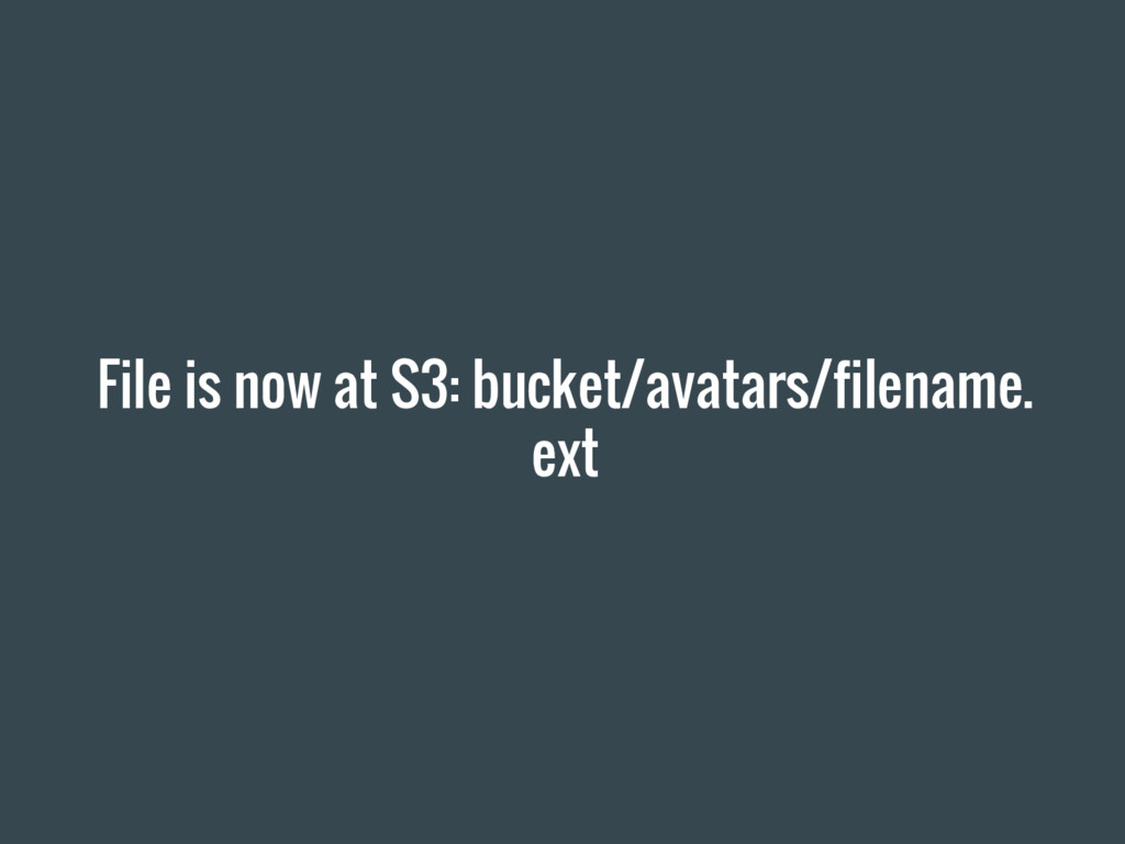 File is now at S3: bucket/avatars/filename. ext