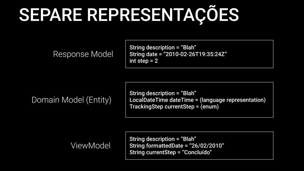 """SEPARE REPRESENTAÇÕES String description = """"Bla..."""
