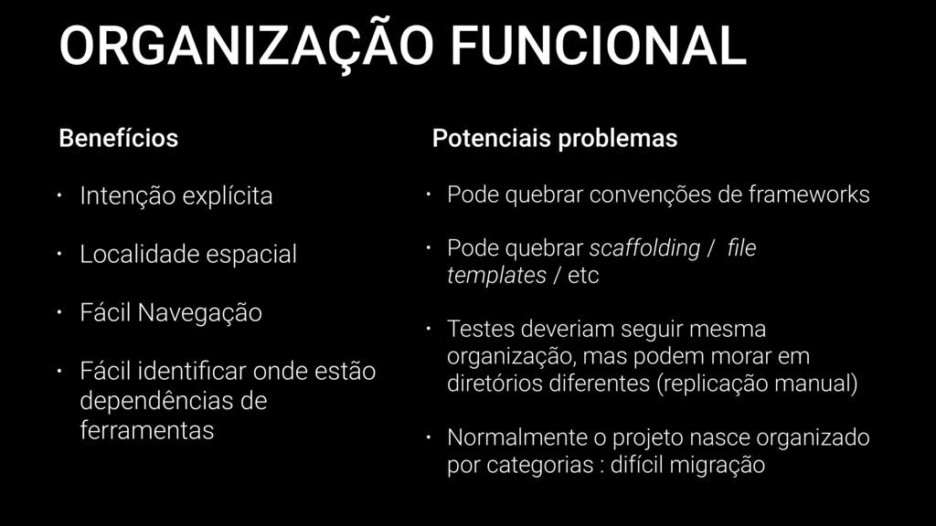 ORGANIZAÇÃO FUNCIONAL • Intenção explícita • Lo...