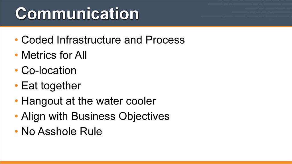 Communication • Coded Infrastructure and Proces...