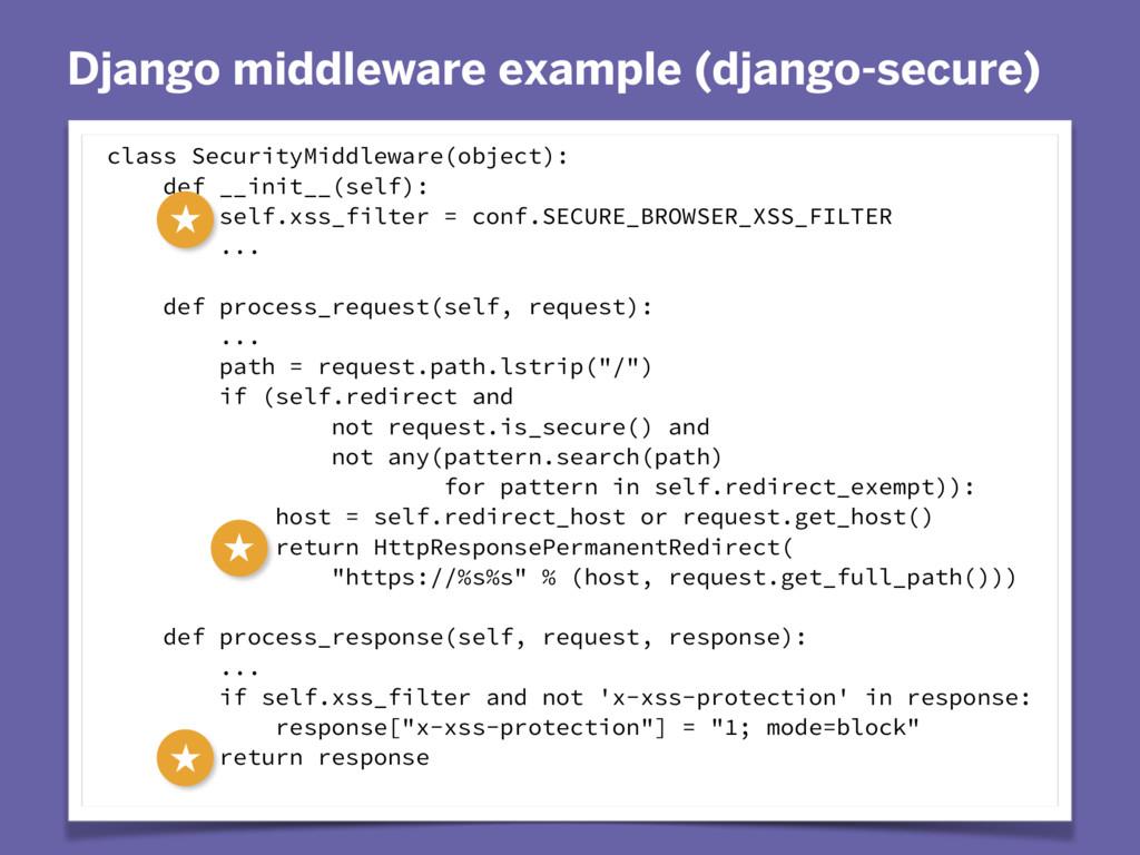 Django middleware example (django-secure) class...