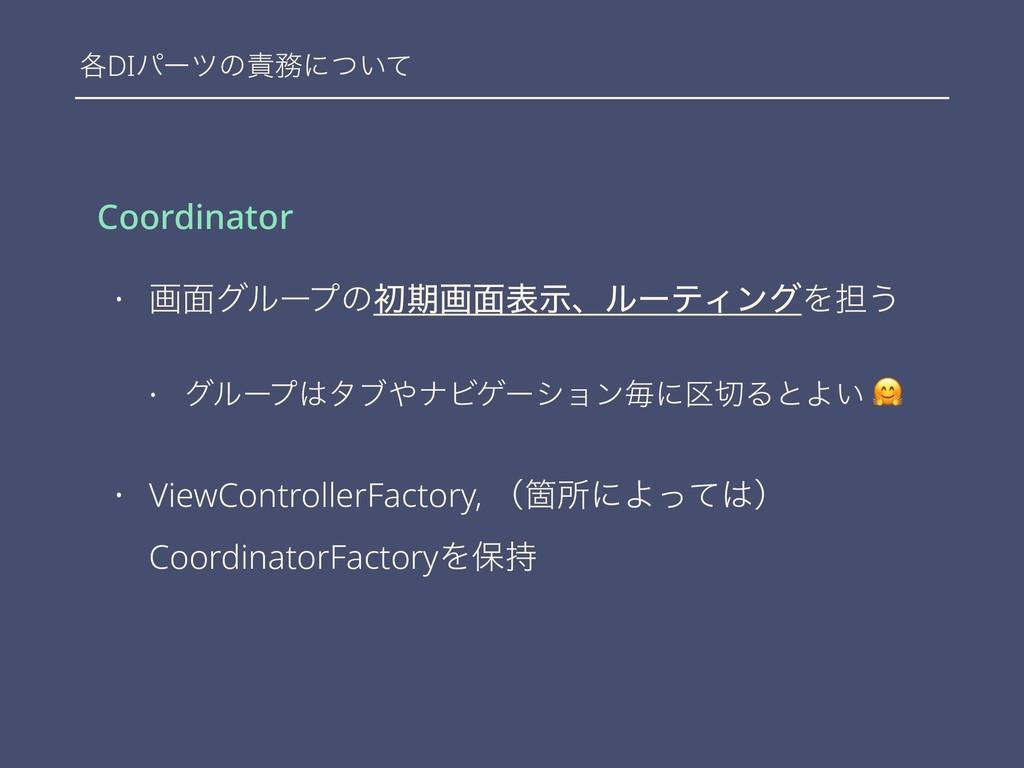 ֤DIύʔπͷʹ͍ͭͯ Coordinator • ը໘άϧʔϓͷॳظը໘දࣔɺϧʔςΟϯ...