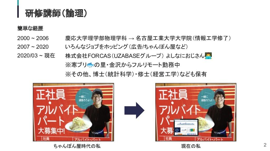 簡単な経歴 2000 ~ 2006 2007 ~ 2020 2020/03 ~ 現在 ちゃんぽ...