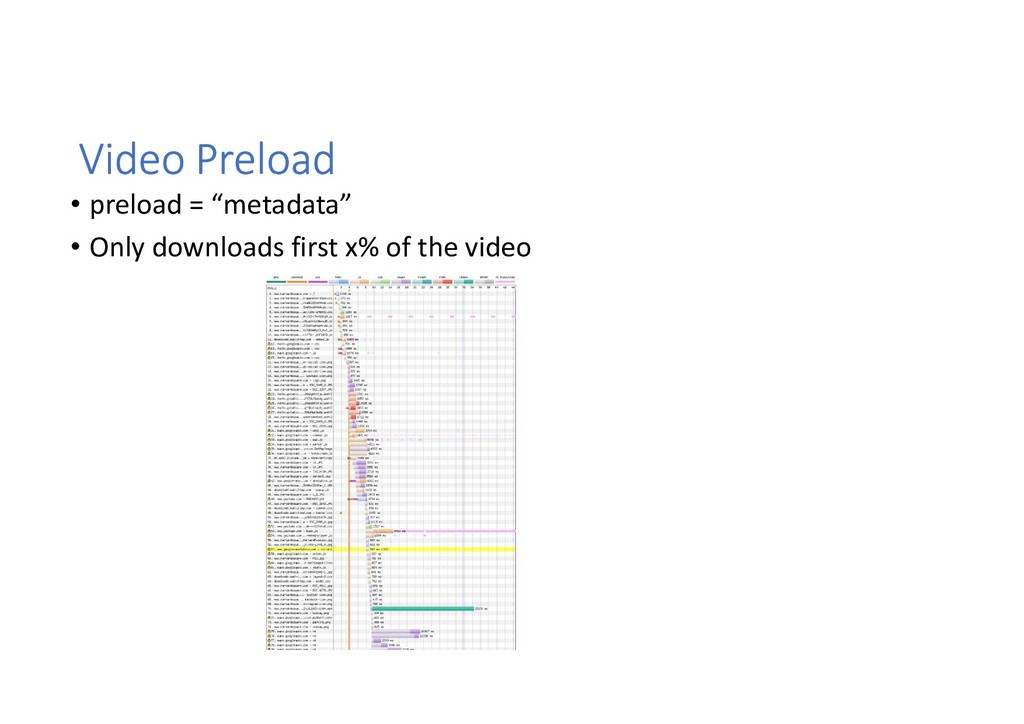 "Video Preload • preload = ""metadata"" • Only dow..."