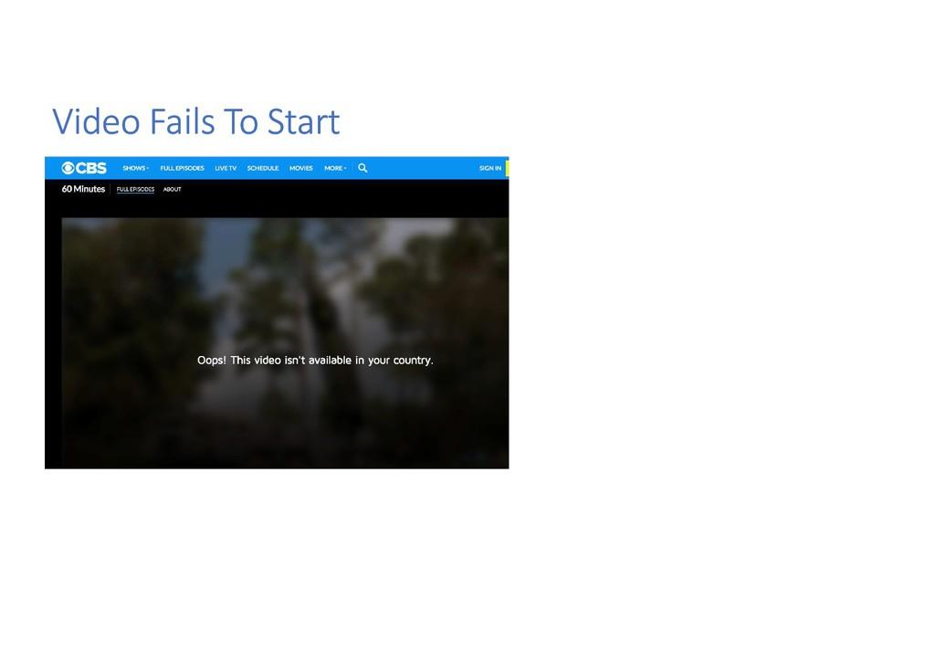 Video Fails To Start