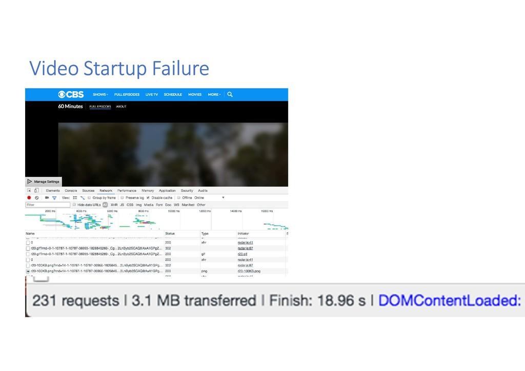 Video Startup Failure
