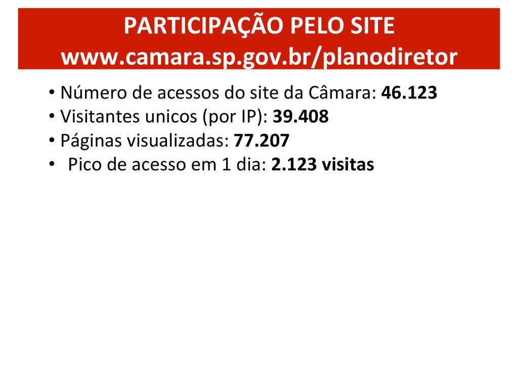 PARTICIPAÇÃO PELO SITE  www.camara.sp....