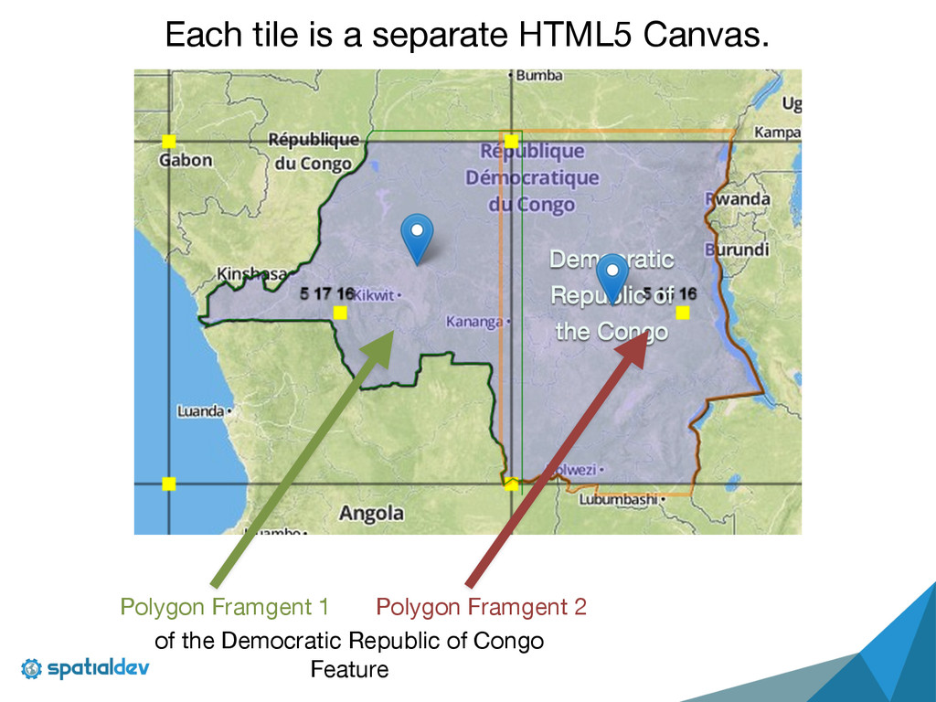 Each tile is a separate HTML5 Canvas. Polygon F...