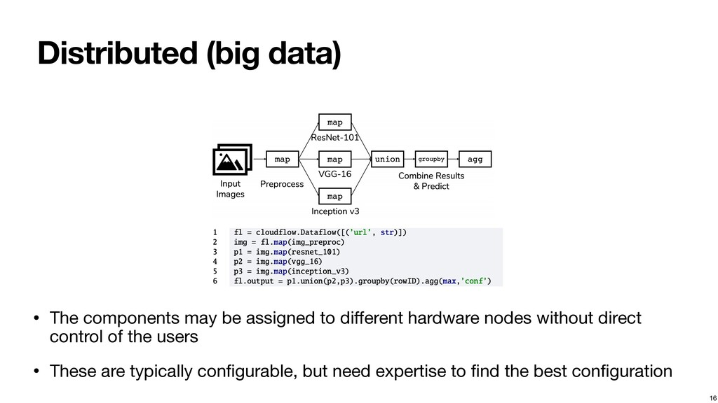 Distributed (big data) • The components may be ...