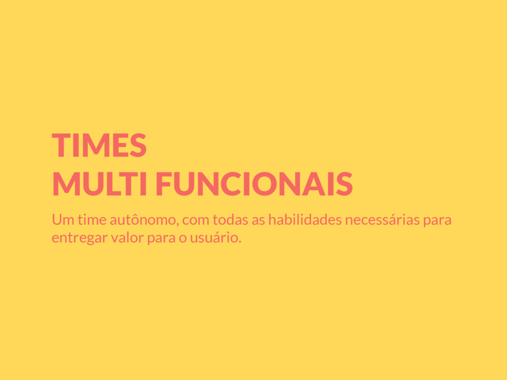 TIMES MULTI FUNCIONAIS Um time autônomo, com to...