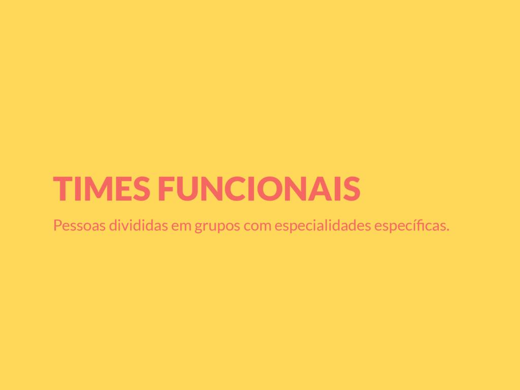 TIMES FUNCIONAIS Pessoas divididas em grupos co...