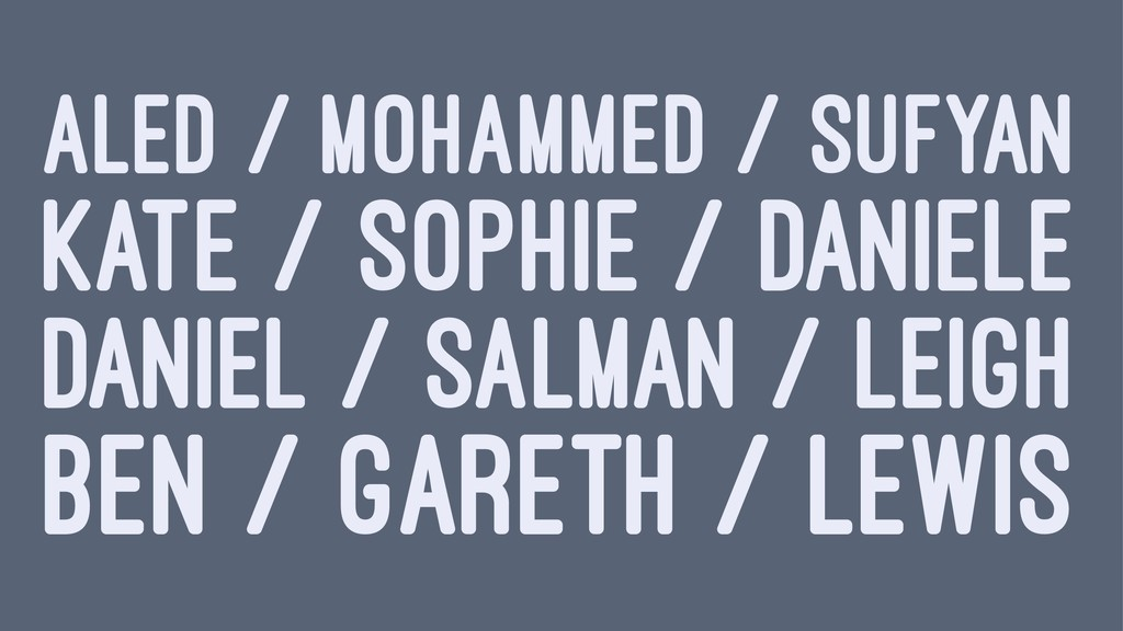 ALED / MOHAMMED / SUFYAN KATE / SOPHIE / DANIEL...