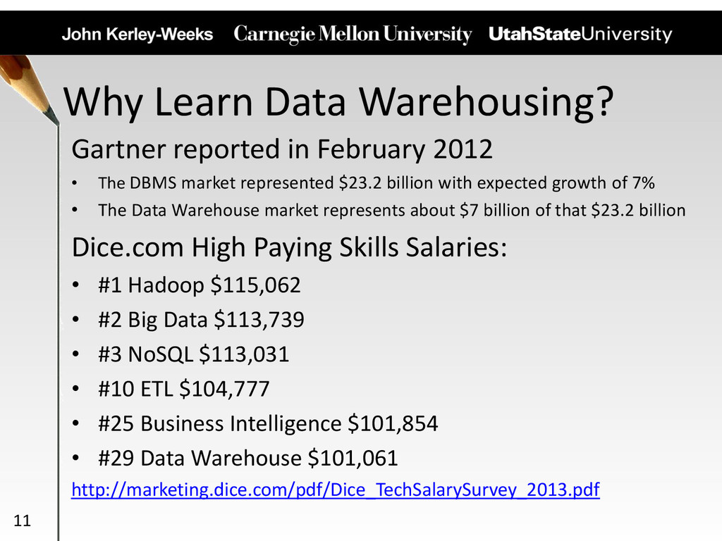 Why Learn Data Warehousing? Gartner reported in...