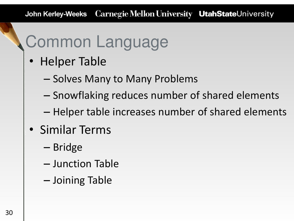 Common Language • Helper Table – Solves Many to...